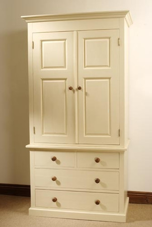 Mottisfont Painted Linen Press (Cream, Metal)