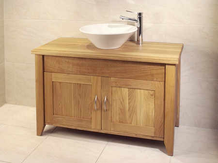 Oak Bathroom Double Wash Stand With 2 Doors - Aquarius Collection (Dark Finish with Oak top)