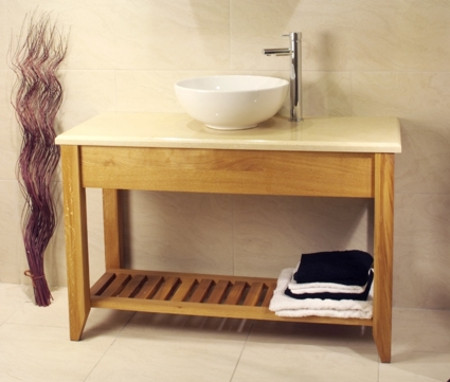 Oak Bathroom Double Wash Stand With Shelf - Aquarius Collection (Unfinished Finish with Marble top)