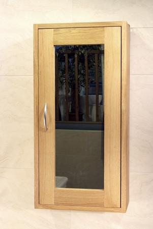 Oak Bathroom Single Wall Unit With 1 Door - Aquarius Collection (Dark Finish)