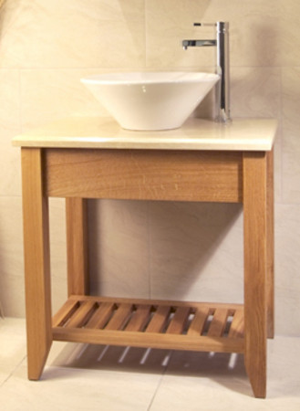 Oak Bathroom Single Wash Stand With Shelf - Aquarius Collection (Unfinished Finish with Oak top)