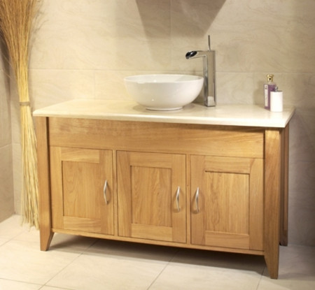 Oak Bathroom Triple Wash Stand With 3 Doors - Aquarius Collection (Unfinished Finish with no top)