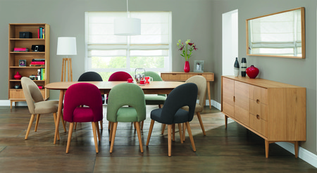 Oslo Oak Extension Dining Table & Extensive Choice of 6 or 8 Dining Chairs (Table & 8 Red Fabric Chairs)