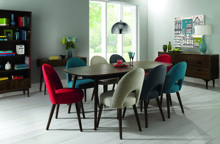Oslo Walnut Extension Dining Table & Extensive Choice of 6 or 8 Dining Chairs (Table & 8 Linen Fabric Chairs)
