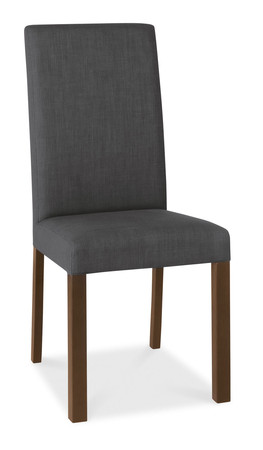 Parker Walnut & Charcoal Fabric Square Back Dining Chairs - Pair