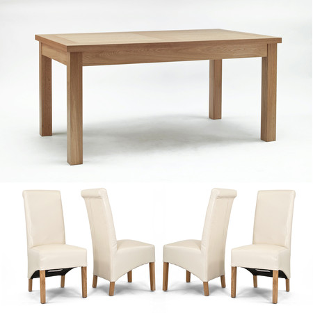 Sherwood Oak 1600mm Fixed Dining Table + 4 or 6 Cream Roll Back Dining Chairs (Sherwood Oak 1600mm Fixed Dining Table + 6 Cream Roll Back Dining Chairs)