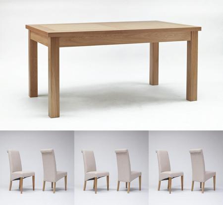 Sherwood Oak Dining Table 1600mm & 4 or 6 Tivoli Oak Fabric Rollback Chairs (6 Gun Metal Grey Chairs)