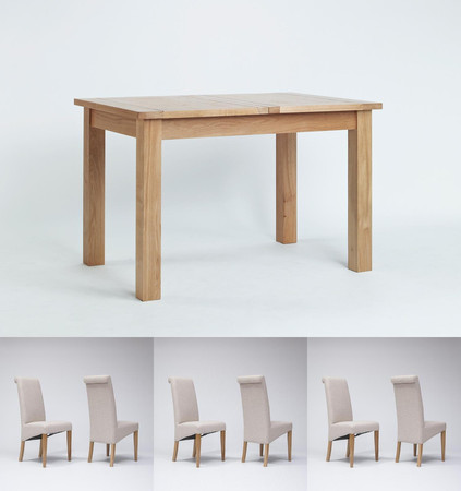 Sherwood Oak Extending Dining Table 1200-1500mm & 4 or 6 Tivoli Oak Rollback Chairs (6 Beige Chairs)