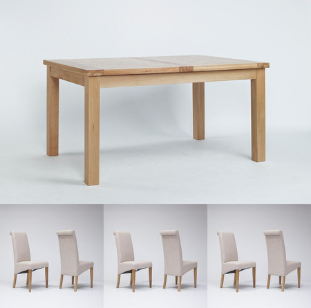 Sherwood Oak Extending Dining Table 1320-1980mm & 6 or 8 Tivoli Oak Fabric Rollback Chairs (6 Green Chairs)