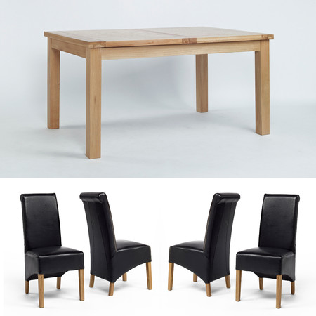 Sherwood Oak Large Extending Dining Table, 1 Bench + 4 Roll Back Dining Chairs - Multiple Colours (Brown Roll Back Chairs)