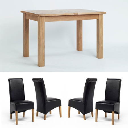 Sherwood Oak Small Extending Dining Table, 1 Bench + 4 Roll Back Dining Chairs - Multiple Colours (Brown Roll Back Chairs)