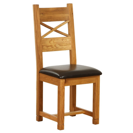 Vancouver Oak Petite Dining Chairs with Chocolate Leather Seats & Cross Back  - Pair