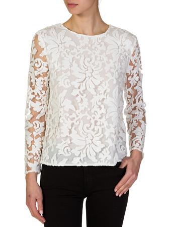 Diane Von Furstenberg White Belle Embellished Blouse - Size 12