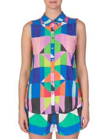 Mara Hoffman Multicoloured Crepe Buttoned Shirt - Size 12
