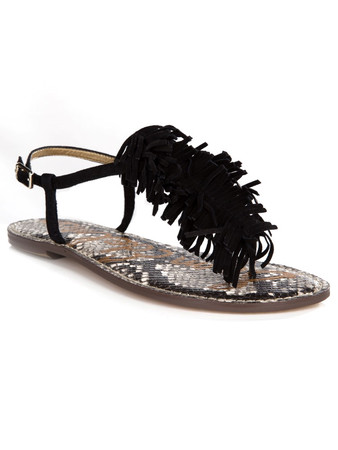 Sam Edelman Black Suede Tassel Gela Sandals - Size 6