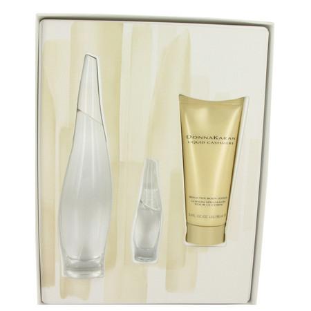 Liquid Cashmere White Gift Set by Donna Karan Gift Set for Women Includes 3.4 oz Eau De Parfum Spray + .24 oz Mini EDP + 3.4 oz Body Lotion