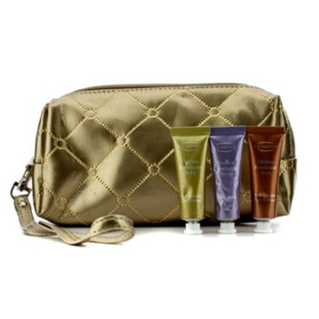 Clarins Soft Cream Eye Color Set: #03 Sage  #05 Lilac  #08 Burnt Orange (With Golden Cosmetic Pouch) 3pcs+1bag