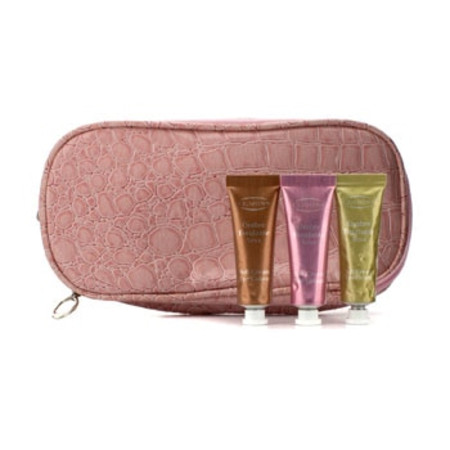 Clarins Soft Cream Eye Color Set: #03 Sage  #07 Sugar Pink  #08 Burnt Orange (With Double Zip Pink Cosmetic Bag) 3pcs+1bag