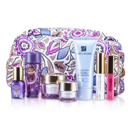 Estee Lauder Travel Set: Cleanser 30ml + Optimizer 30ml + Neck Cream 15ml + Serum 7ml + Eye Cream 5ml + Mascara #01 + Lip Gloss #26 + Bag 7pcs+1bag