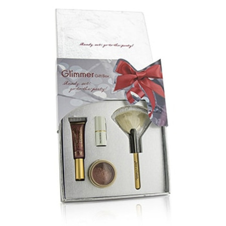Jane Iredale The Glimmer Gift Box: 1x PureGloss Lip Gloss  1x 24 Karat Gold Dust Shimmer Powder  1x Mini Just Kissed Lip & Cheek Stain  1x White Fan Brush (Travel Size) 4pcs
