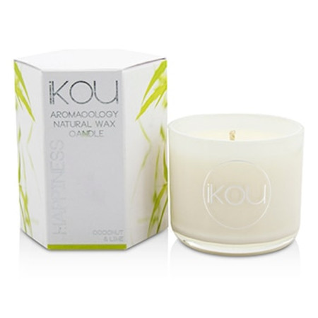 iKOU Eco-Luxury Aromacology Natural Wax Candle Glass - Happiness (Coconut & Lime) (2x2) inch