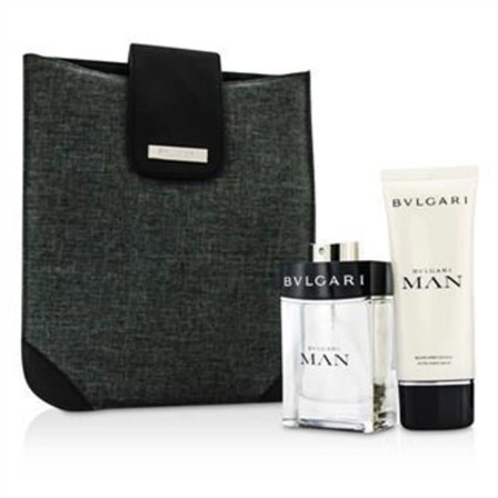 Bvlgari Man Coffret: Eau De Toilette Spray 100ml/3.4oz + After Shave Balm 100ml/3.4oz + Bag 2pcs+1bag Men's Fragrance