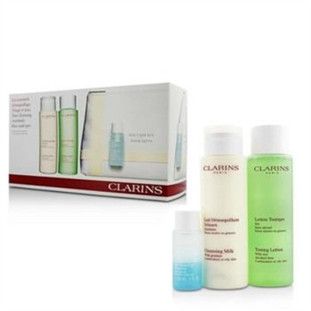Clarins Cleansing Set (Combination or Oily Skin): Cleansing Milk 200ml + Toning Lotion 200ml +  Eye Make-Up Remover 30ml + Bag 3pcs+1bag Skincare