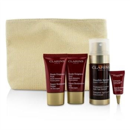 Clarins Skin-Replenishing Expert Set: Double Serum 30ml + Super Restorative Day Cream 15ml + Night Cream 15ml + Eye Concentrate 3ml + Bag 4pcs+1bag Skincare