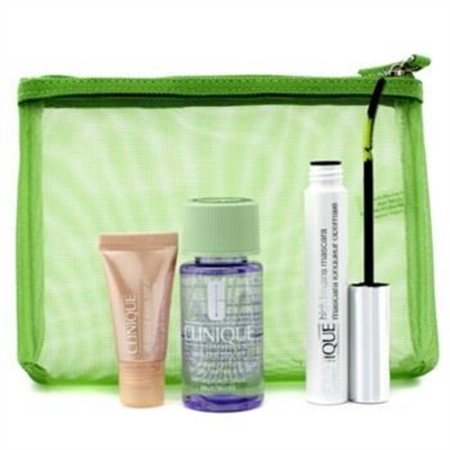 Clinique Lengthen & Define: 1x High Lengths Mascara, 1x All About Eyes Serum, 1x Take The Day Off Makeup Remover, 1x Bag 3pcs+1bag Make Up