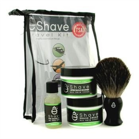 EShave Verbena Lime Travel Kit: Pre Shave Oil + Shave Cream + After Shave Smoother + Brush + TSA Bag 4pcs+1bag Men's Skincare