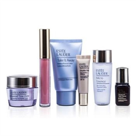 Estee Lauder Travel Set: Makeup Remover 30ml + Micro Essence 30ml + Advanced Time Zone Cream 15ml + ANR II 7ml + Makeup #36 + Lipgloss #09 6pcs Skincare