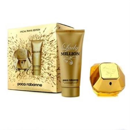 Paco Rabanne Lady Million Special Travel Edition Coffret: Eau De Parfum Spray 80ml/2.7oz + Sensual Body Lotion 100ml/3.4oz 2pcs Ladies Fragrance
