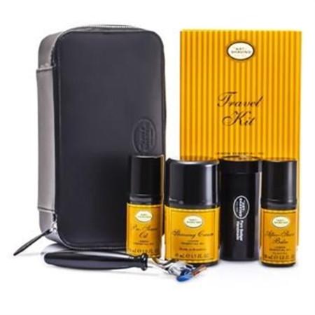 The Art Of Shaving Travel Kit (Lemon): Razor+ Shaving Brush+ Pre-Shave Oil 30ml+ Shaving Cream 45ml+ A/S Balm 30ml+ Case 5pcs+1case Men's Skincare