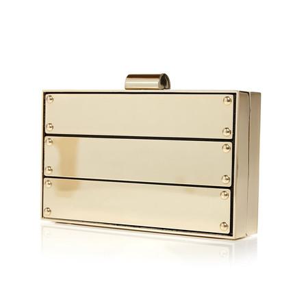 Moda in Pelle Fayaclutch Gold Occasion Handbags