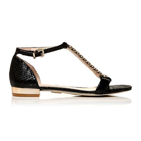 Moda in Pelle Tambre Black Low Smart Sandals