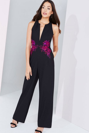 Black And Berry Embroidered Waist Jumpsuit