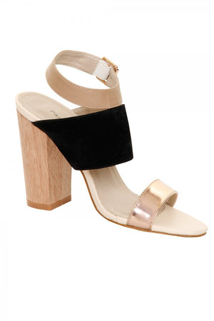 Black Suede & Metallic Peep Toe Wooden Heel