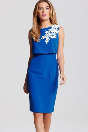 Blue and Cream Applique 2 in 1 Dress