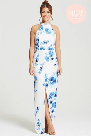 Blur Rose Print Jewel Neckline Maxi Dress