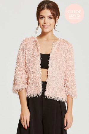 Blush Mini Fringe Jacket