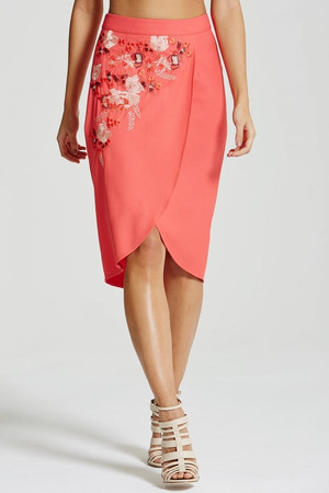 Coral Embroidered Wrap Front Skirt