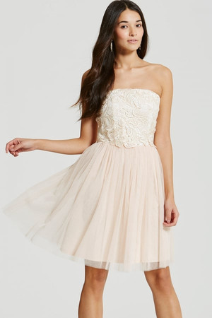Cream/Nude Lace Overlay Bandeau Prom Dress