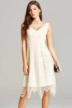 Cream Lace Prom Dress