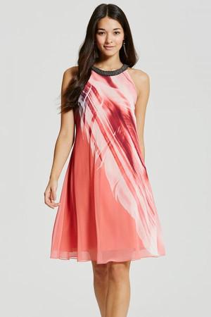 Feather Print Embellished Shift Dress