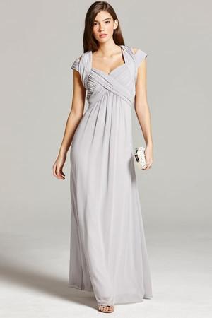 Grey Crossover Empire Maxi Dress