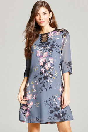 Grey Floral Print and Lace Tunic Dress