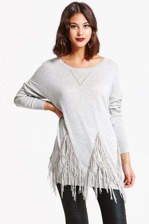 Grey Wool Jumper With Ragged Design Hem Grey Wool Jumper With Ragged Design Hem