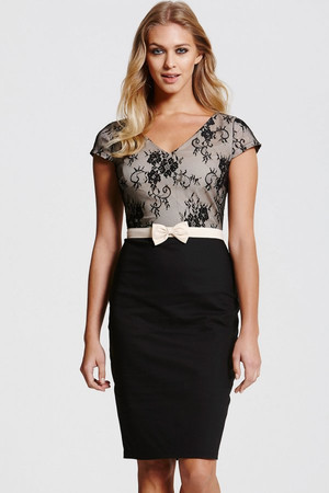 Lace Overlay Black Dress With Bow Waist Detail