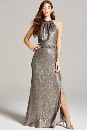 Metallic Grey Halter Neck Maxi Dress