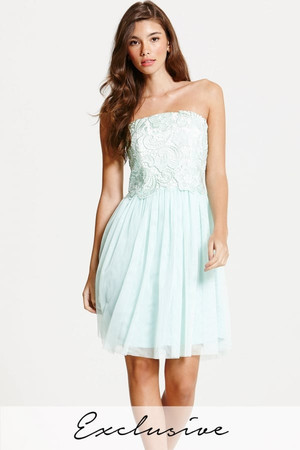 Mint and Cream Lace Overlay Bandeau Prom Dress